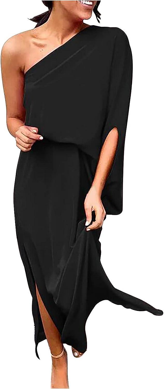 Summer Elegant Dresses, One Shoulder Womens Maxi Dress Loose Casual Flowy Dress Split Beach Cocktail Party Dress