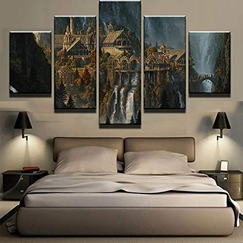 WJWORLD Poster,5 Teilig Leinwanddrucke Leinwand stück Kunstdruck modern Wand Aufhängen Home Dekoration Moderne Gemälde HD Panel/Herr Der Ringe/Mit Rahmen