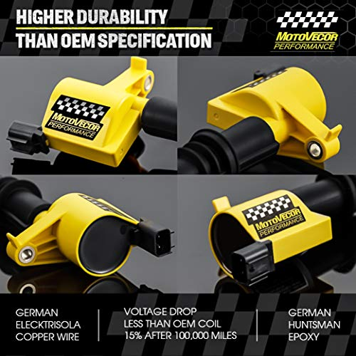NEVERLAND 8 Pack DG511 C1541 FD508 Straight Boot Ignition Coils for Ford Lincoln Mercury V8 V10 4.6l 5.4l 6.8l Upgrade 15/% More Energy F-150 Yellow