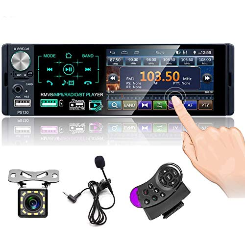 Radio de Coche Bluetooth Pantalla táctil capacitiva Single DIN 4 '' Radio FM / Am / RDS Cámara Trasera Control Remoto del Volante con micrófono Externo con Salida de Audio de subwoofer