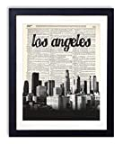 Los Angeles Skyline With Name Vertical Dictionary Art Print 8x10