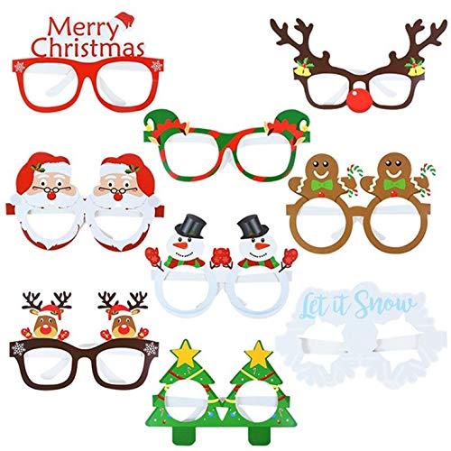 #N/V Weihnachtspapier 3D Brille 9 Packungen Weihnachtsmann Schneemann Weihnachtsbaum Dekoration Requisiten Papier 3D Brille