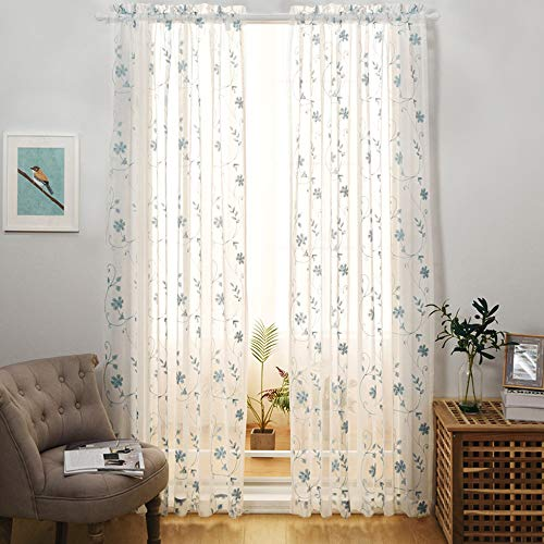 """Floral Embroidery Sheer Curtains Blue 95 Inches Long, Window Treatments Rod Pocket Drapes for Living room, Bedroom, Semi Crinkle Voile Curtain Panels for Yard, Patio, Villa, Parlor, Set of 2, 52""""x95""""."""