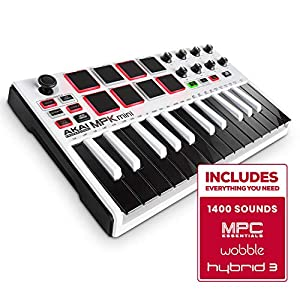 Akai Professional MPK Mini MKII LE White | White, Limited Edition 25 Key Portable USB MIDI Keyboard With 8 Backlit Performance Ready Pads, 8 Assignable Q Link Knobs & A 4 Way Thumbstick by inMusic Brands Inc.