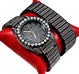 techno king watches for women - Techno King Iced Out Men Metal Band Watch and Matching Studded Bracelet Gift Set 7151GM-GU