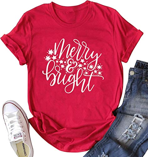 Merry and Bright Stars Christmas T-Shirt Women Letter Printed Casual Short Sleeve Tee Tops (Medium, Red)