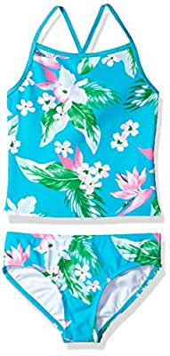 Kanu Surf Girls' Little Melanie Beach Sport 2-Pc Banded Tankini Swimsuit, Alania Floral Aqua, 6