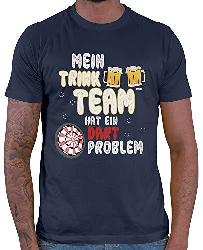 HARIZ Herren T-Shirt Mein Trink Team Hat EIN Dartproblem 2 Dart Darten Dartscheibe Sport Fun Trikot Inkl. Geschenk Karte Navy Blau 3XL