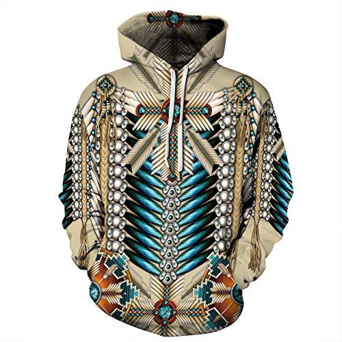 W&TT Unisex Hoodies Indian Ethnic 3D Print Sweatshirt Neuheit Langarm Loose Pullover mit Känguru-Taschen für Männer und Frauen,J,XXXXL