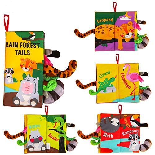 beiens Soft Baby Cloth Books, Touch and Feel Crinkle Books, for Babies, Infants & Toddler Early Development Interactive Toys, Baby Girl & Baby Boy Gift (Rainforest Tails-1 Book)