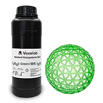 Voxelab 3D Printer Resin 0.5kg/bottle, 405nm UV-Curing 3D Resin with High Precision and Quick Curing & Smooth Surface for LCD 3D Printing (green)