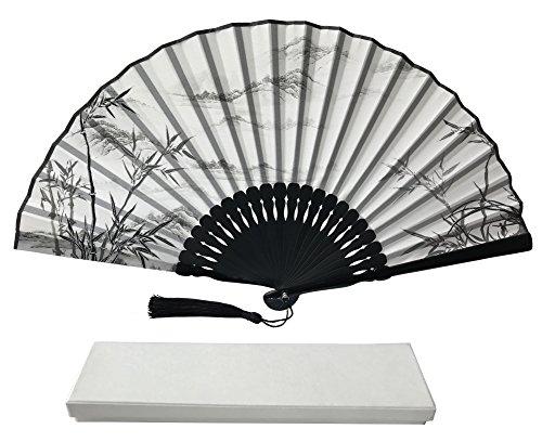 FANSOF.FANS Ink Art Handheld Fan met een doos en een zak voor Vrouwen Mannen Meisjes Zwart en Wit met Silver Touch UP Duurzame Folding Hand Fan Zijde Stof