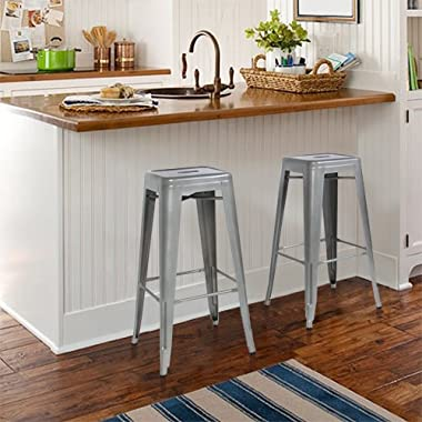 Best Choice Products SKY1651 30  Set of 2 Modern Industrial Backless Metal Bar Stools- Silver/Gray
