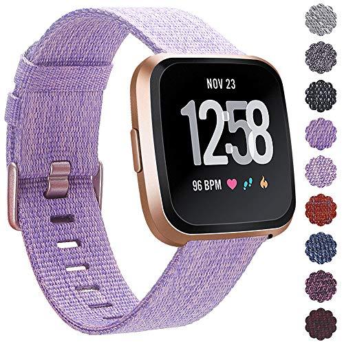 KIMILARArmbänder Kompatibel mit Fitbit Versa/Versa 2/Versa Lite Armband Stoff, Schnellspanner Nylon Ersatzband Armbänder mit Edelstahl Handgelenk Verschluss (Lavendel)