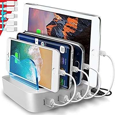 Poweroni USB Charging Station Dock - 4-Port - Fast Charge Docking Station for Multiple Devices - Multi Device Charger Organizer - Compatible with Apple iPad iPhone and Android Cell Phone and Tablet from Poweroni