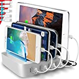 Poweroni USB Charging Station Dock - 4-Port - Fast Charge Docking Station for Multiple Devices - Multi Device Charger Organizer - Compatible with iPad iPhone and Android Cell Phone and Tablet