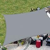 ELECLAND 3M x 4M Parasol Gris Vela Rectangular Parasol Exterior 420D Poliéster Toldo para jardín Vela Impermeable Sombra Cubierta Balcón Vela para el Sol