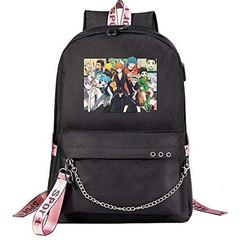 ZZGOO-LL Assassination Classroom With chain USB Anime Zaini backpack Scuola per Uomo Donna, Lavoro, Tablet Unisex Black-A