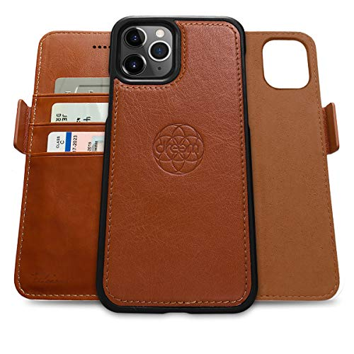 Dreem Fibonacci 2-in-1 Wallet-Case for iPhone 12 & 12 Pro - Luxury Vegan Leather, Magnetic Detachable Shockproof Phone Case, RFID Card Protection, 2-Way Flip Stand - Caramel