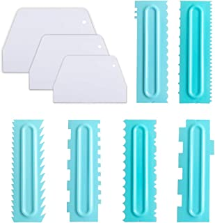 Cake Scraper Set of 9, Cake Combs and Icing Smoother, Plastic Cake Buttercream Decorating Kitchen Baking Tools