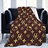 Kids Anime Hello Kitty Throw Blanket Soft Fuzzy Fleece Flannel Baby Boy Girl Blanket Cute Throw Blankets for Couch Chair Bed Napping Bedroom Living Room 40x50 Inch Brown