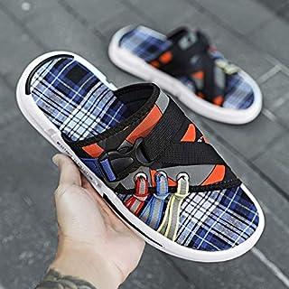 Men's Summer Fanshion Beach Slippers Outdoor Non-slip Blue Grid Slipper Comfortable Flip Flops Casual Shoes (Color : Black Orange ZZ020, Shoe Size : 41)