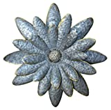 Daisy Dimensional Antique Tin Galvanized Metal Flower Petals Hanging Mounted Wall Décor Wreath, 12 Inches