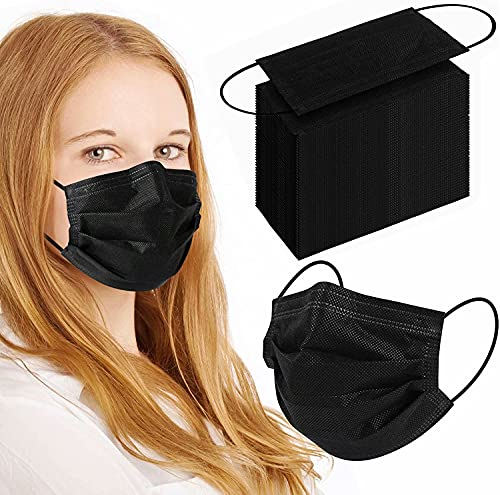 100Pcs Black Disposable Face Mask, 3 Ply Black Face Masks with Soft Elastic Ear Loops