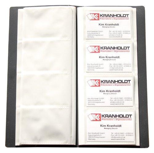 Carpeta con fundas transparentes Adecuada para 240 tarjetas de visita Hecha de material de plástico PP Formato: 275 x 120 x 24 mm