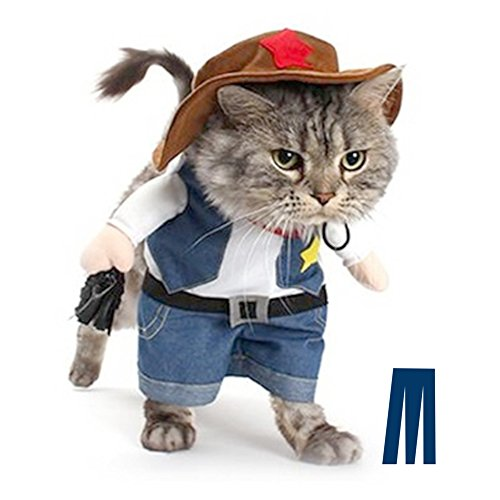 Mikayoo Pet Dog Cat Halloween Costumes,The Cowboy for Party Christmas Special Events Costume,West Cowboy Uniform with Hat,Funny Pet Cowboy Outfit Clothing for Dog cat(S)