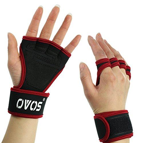 OVOS Workout Guantes con Mango un–Muñequera Ideal para Gimnasia WOD Crossfit Entrenamiento Mejor Que Guantes de Levantamiento (o Pads, Rojo