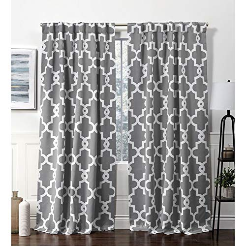 Exclusive Home Curtains Ironwork Hidden Tab Top Curtain Panel, 52x84, Black Pearl, 2 Panels