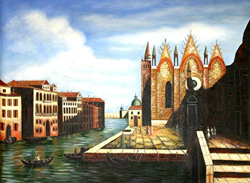 100% Genuine Real Hand Painted Venice Italy Canals Canvas Oil Painting for Home Wall Art Decoration, Not a Print/ Giclee/ Poster