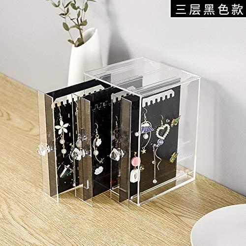 LKU Storage Box Multifunctionele transparante plastic sieraden doos sieraden opbergdoos stofdichte oorbellen afwerking doos desktop