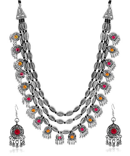 Antique Oxidised Silver Plated Tribal Jewellery Necklace Earring Set for Women & Girls.(Valentine Gift Special). (Multi)