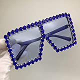 SSLL Sonnenbrille Crystal Diamond Übergroße Sonnenbrille Für Damen Fashion Candy Shades Uv400 Brille Transparent Frame-Deep_Blue