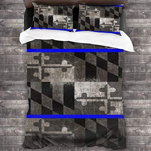 3D Juego Funda De Diseño Personalizado,Bandera del Estado de Maryland de Blue Line,Ropa de Cama Set 1 Edredón 2 Fundas de Almohada Microfibra jueg,200 * 200cm*1