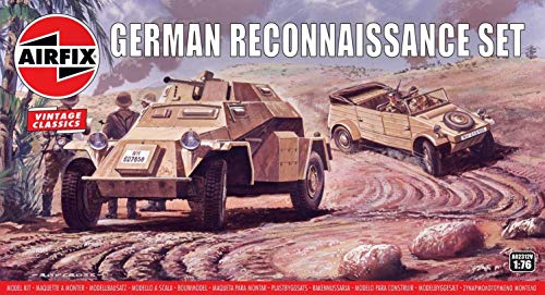 Airfix Vintage Classics German Reconnaissance Set 1:76 WWII Military Ground Vehicle Plastic Model Kit A02312V