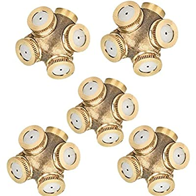 "5 Pcs 4-Hole Brass Misting Nozzles High Pressure Atomizing Misting Sprayer Water Hose Nozzle for Greenhouse,Landscaping,Dust Control,Outdoor Cooling,0.06"" Orifice (1.5 mm),DN15(1/2"") Fitting Adapter"