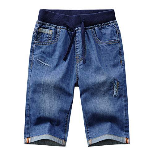 YoungSoul Vaqueros Cortos Niños - Pantalones Cortos Vaqueros Rotos - Bermudas de Jeans con Cintura Elástica Azul Rotos 164/13-14 años