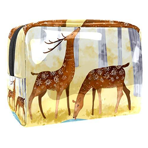 Neceser de Maquillaje Estuche Escolar para Cosméticos Bolsa de Aseo Grande Dibujos Animados de Ciervos de otoño Bebiendo Agua