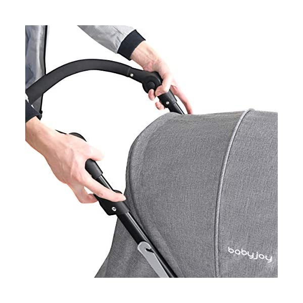 GYMAX Double Seat Stroller with Adjustable Push Handle and Foot Rest, Detachable Canopy, Foldable Baby Pushchair Buggy for Traveling, Going Shopping, Hanging Out GYMAX ✔DOUBLE SEAT DESIGN: The baby Stroller has front and back seats for two babies which can free your hand and no need for cuddling the baby, you can take care of two babies together. ✔MULTIPLE ADJUSTABLE POSITION: There are four adjustable parts: handlebar, canopy, footrest and backrest, the thoughtful design allow you to set a suitable position in different condition and make baby feel comfortable without crying. ✔360°SWIVEL WHEELS WITH BRAKES: The front wheels with anti-shock function can go any direction, the rear wheels have a connector that can be braked in one step. 6