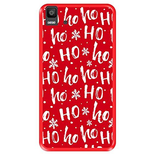 Hapdey silikon Hülle für [ Bq Aquaris E5s - E5 4G ] Design [ Weihnachtsmann, Hohoho ] Rot Flexibles TPU