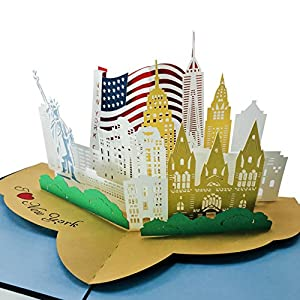 I Love New York City - 3D Pop Up Greeting Card for All Occasions - Travel, Love, Birthday, Retirement, Congrats, Thank You, Get Well, Christmas - Fold Flat, Envelope Included