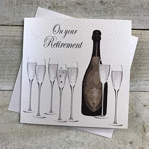 Witte katoenen kaarten op je pensioen, handgemaakte kaart (code PD235)