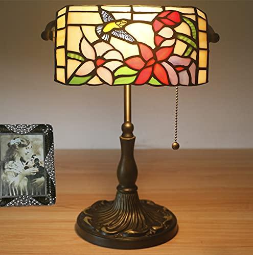 Lámpara de mesa de estilo Tiffany de 11 pulgadas, vitrales, pájaros, lámpara de escritorio vintage hecha a mano, lámpara de lectura para sala de estar, dormitorio, biblioteca, mesita de noche, bar