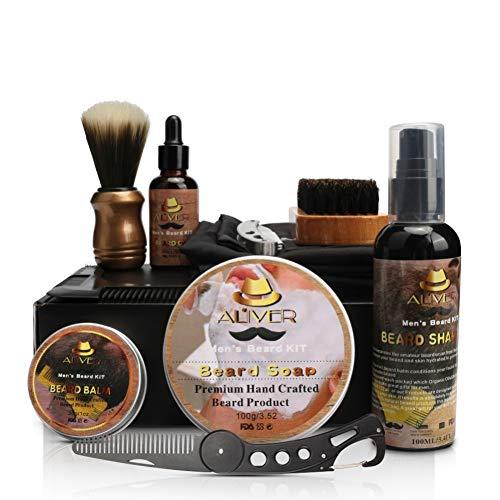 Ensemble de soins de barbe professionnel 10 en 1 Kit de soins de la barbe avec brosse à barbe pour hommes de sanglier Tablier à barbe Shampooing à barbe Rasoir à huile dans une boîte cadeau