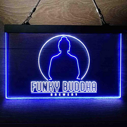 zusme Funky Buddha Brewery Colorful LED Neon Sign Man Cave Light White & Blue W12 x H8