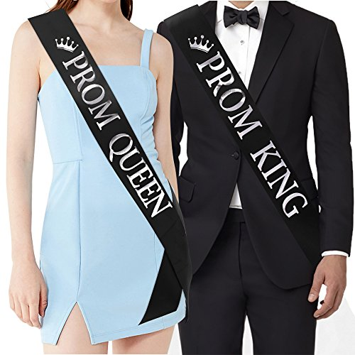 'Prom King' and'Prom Queen' Sashes - Graduation Party School Party Accessories, Black with Silver Print