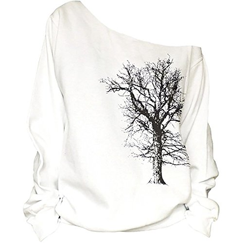 Nawoshow Women's Pullover Casual Off The Shoulder Slouchy Sweatshirt Long Sleeve Hoodie (Tree)